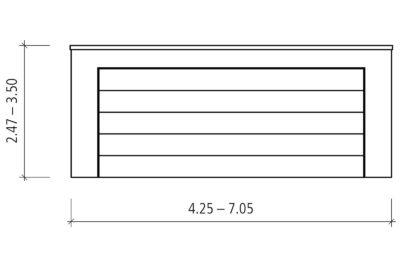 Zeichnung von Vorne auf vorgefertigte Doppelgaragen mit Grosstor