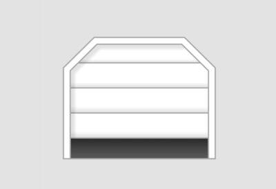 Sektionaltor für Garagenöffnung mit abgeschrägten Ecken